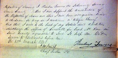 Oath document signed by one of Travis county's  first constables, Reuben Towers, dated March 11, 1840
