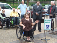 Sara Mills of Advocacy Incorporated speaks on behalf of disabled citizens